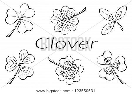 Set of Plant Pictograms, Clover Leaves, Black on White. Vector