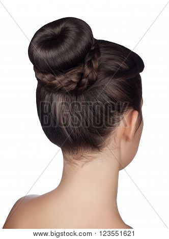 elegant hairstyle bun with braid isolated on white background