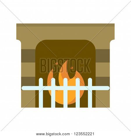 Fireplace, fire, winter icon vector image. Can also be used for winter. Suitable for use on web apps, mobile apps and print media.