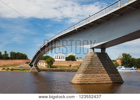 View of the bridge and Belfry of St. Sophia Cathedral - a monument of architecture  in the Novgorod Kremlin. Velikiy Novgorod city fortress. Christian churches of Russia. Tourism place.