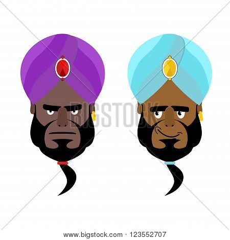 Arab Sheikh. Angry Arab Sheikh. Cheerful Arabic Man Wearing Turban. Turban- National Arabic Headdres