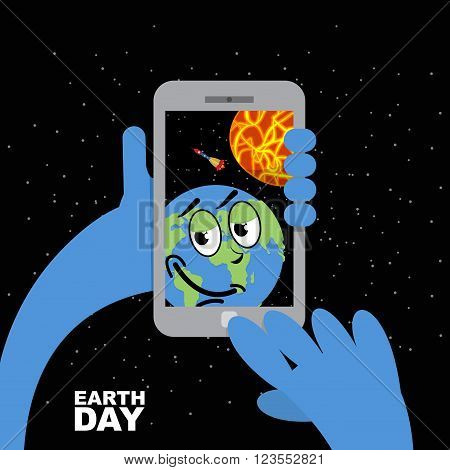 Earth Day. Planet Earth Selfie In Sun. Planet Earth And Mobile Phone. Planet Earth Photographs Thems