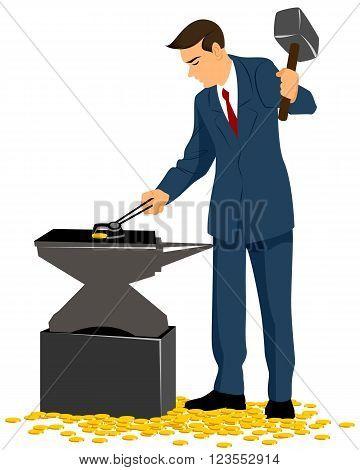 Vector illustration of a businessman forging gold