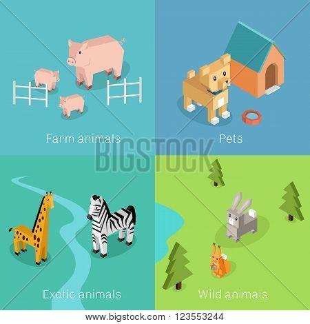 Wild exotic and farm animal set isometric. Pet dog bird, animals vector, cartoon animals, dog and zebra, horse and tropical wildlife, mammal creature illustration. Isometric animal set