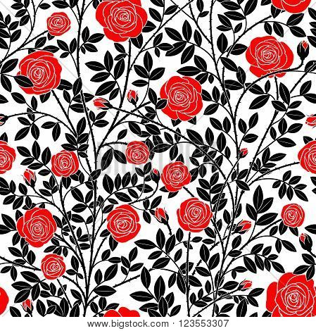 Seamless texture in the form of red roses with black stems