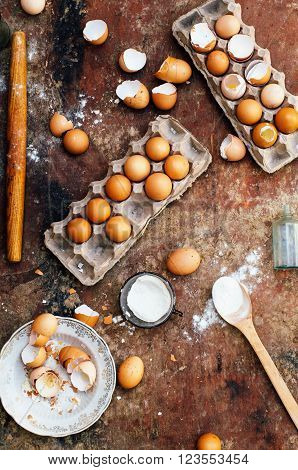 Baking Cake Ingredients - Bowl, Flour, Eggs, Egg Whites Foam, Eg