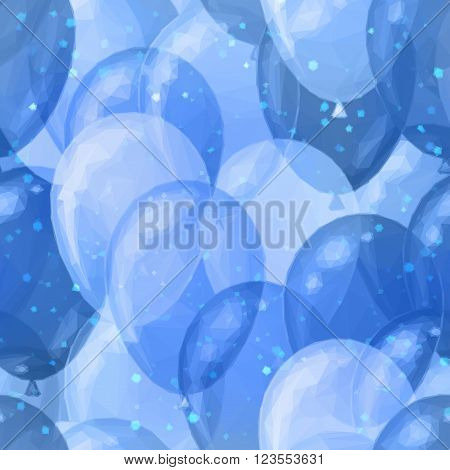 Balloons Low Poly Pattern, Colorful Background. Vector