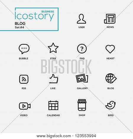 Set of modern vector plain simple thin line design icons and pictograms for your blog. User. news, comment, heart, like, gallery, frequently asked questions, video, calendar, shop