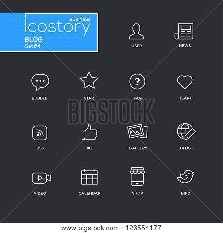 Set of modern vector plain simple thin line design icons and pictograms for your blog - black background. User. news, comment, heart, like, gallery, frequently asked questions, video, calendar, shop