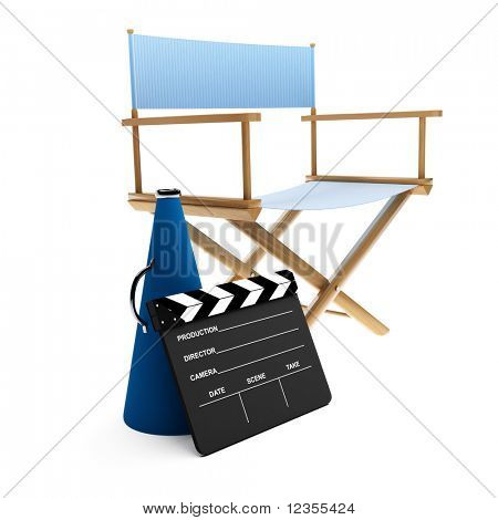 Megaphone, chair and clapboard