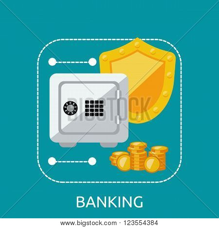Banking safe protection concept. Business finance banking money and bank security, secure safe and deposit banking, financial protection and saving investment vector illustration
