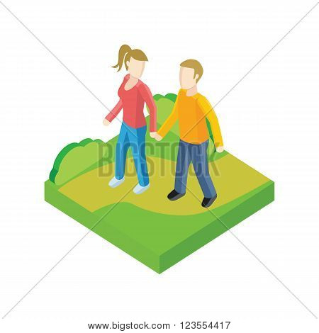 Couple walk in park design flat. People outdoor, together couple man and woman, young people walk, adult woman walking, friendship lover pair, walkway rest vector illustration