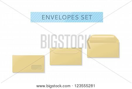 Envelope set open and close design flat. Letter mail envelope template icon, yellow envelope, invitation open or close envelope vector illustration