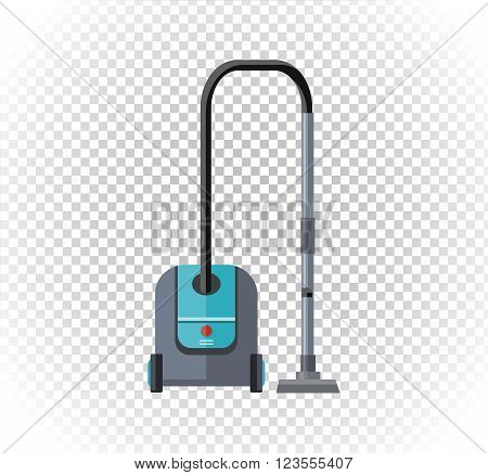Vacuum cleaner design flat isolated icon. Hoover and cleaning, old vacuum cleaner tool, machine domestic, electrical vacuum equipment  vector illustration