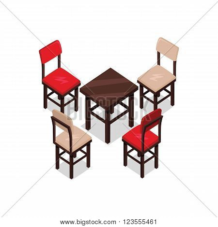 Chair and table isometric design. Office table chair isolated, isometric furniture, room interior, home furniture indoor and office desk vector illustration. Two red and two brown chairs