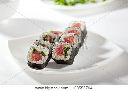 Maki Sushi with Tuna and Spring Onion inside. Nori outside