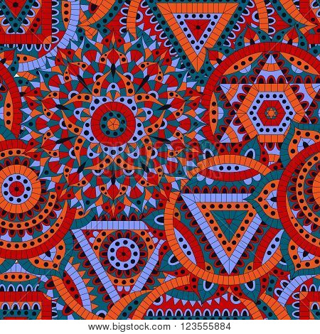 Seamless pattern with seven chakras. Oriental ornaments for banners, cards or for your design. Buddhism decorative elements. Red, orange and blue colors.  Vector illustration.