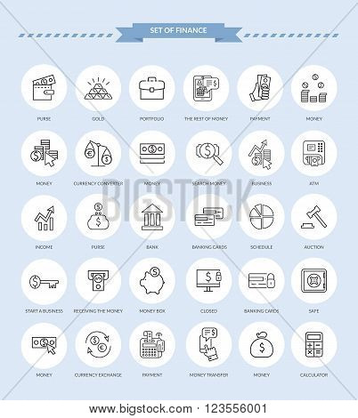 Set of thin, lines, outline financial service items icons, banking accounting tools, stock market global trading and money objects and elements. Flat thin line vector icons modern design style