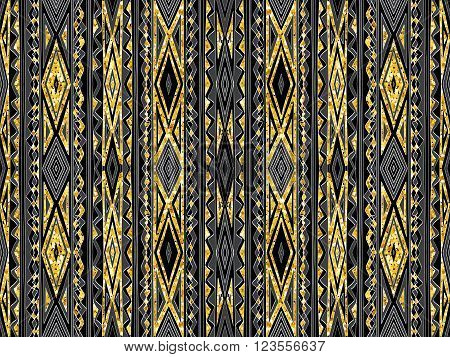Background Abstract Tribal Golden Glitter Black Ornament 2