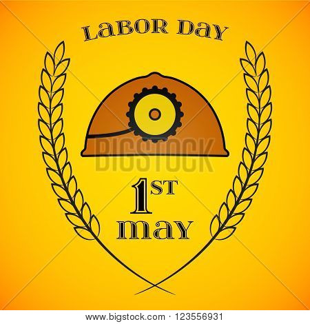 May Day. May 1st. Labor Day background with mine helmet and wheat ears. Poster, greeting card or brochure template, symbol of work and labor, vector icon