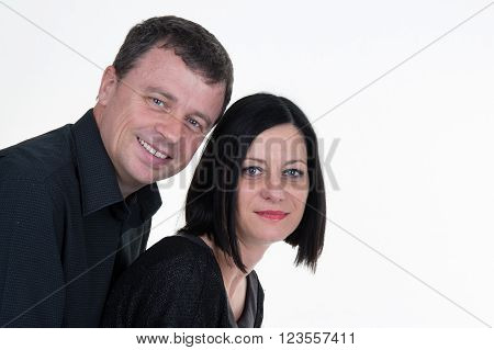 Portrait Of Married Couple Isolated On White Background