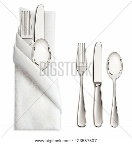 Silverware or flatware set of fork spoon and knife on napkin. Isolated on white background. Vector illustration