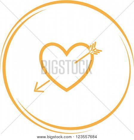heart and arrow. Internet button. Raster icon.