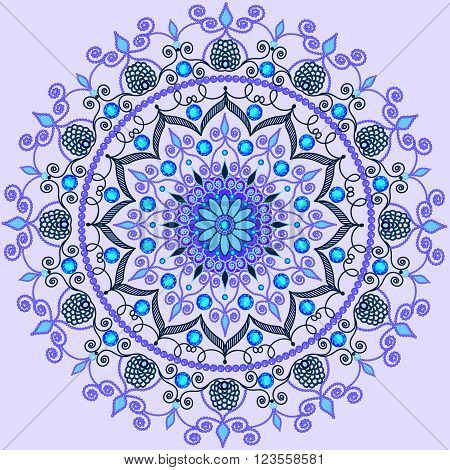 illustration background with a circular  ornaments with precious