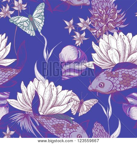 Vintage pond water flowers vector seamless pattern, Botanical shabby chic illustration lily, carp, snail leaves and twigs Floral design elements.