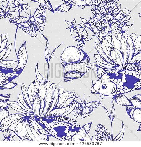 Vintage monochrome pond water flowers vector seamless pattern, Botanical shabby chic illustration lily, carp, snail leaves and twigs Floral design elements.