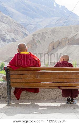LAMAYURU INDIA - JUNE 15 2015: Unidentified buddhist monk during mystical mask dancing Tsam mystery dance in time of Yuru Kabgyat Buddhist festival at Lamayuru Gompa Ladakh North India