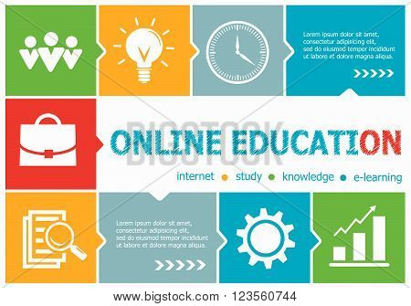 Online Education Design Illustration Concepts For Business, Consulting, Management, Career.