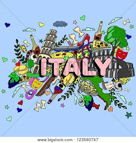 Italy line art design vector illustration. Separate objects. Hand drawn doodle design elements.