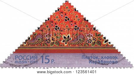 RUSSIA - CIRCA 2013: stamp printed in Russia shows  kerchief  Karabanovo, cotton, about 2013.