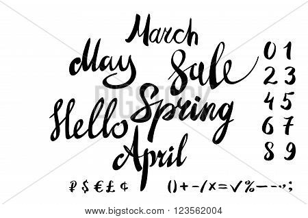 Hello Spring Lettering Typography Set. Calligraphy Spring Postcard Or Poster Graphic Design Letterin