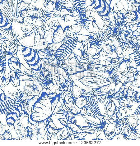 Blue vintage garden spring seamless pattern. Flowers blooming branches of cherry, apple trees, peach birds, feathers and butterflies, Vector botanical illustration.