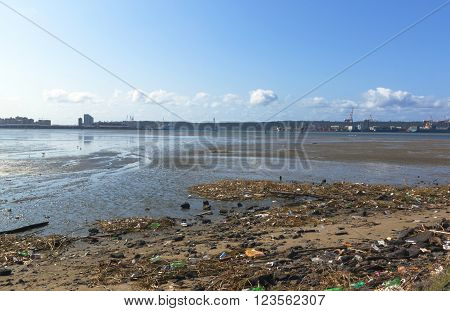 pollution and litter in the shallows of harbour at low tide in Durban South Africa