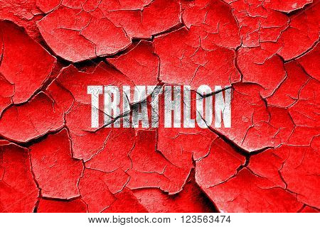 Grunge cracked triathlon sign background with some soft smooth lines