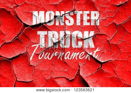 Grunge cracked monster truck sign background with some soft smooth lines