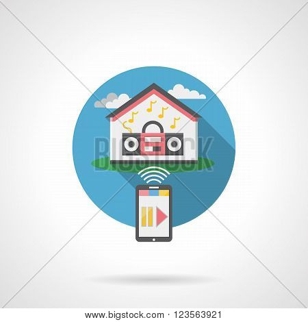 Home automation audio system. Remote control of household appliances. Smart house concept. Flat color style detailed single vector icon. Design element for website, mobile, business.
