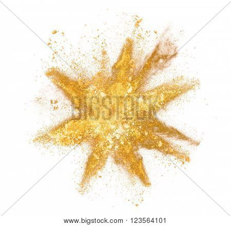 Explosion of yellow powder on white background