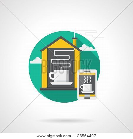 Remote control of household appliances. Coffee and tea making. Smart house concept. Home management. Flat color style detailed single vector icon. Design element for website, mobile, business.