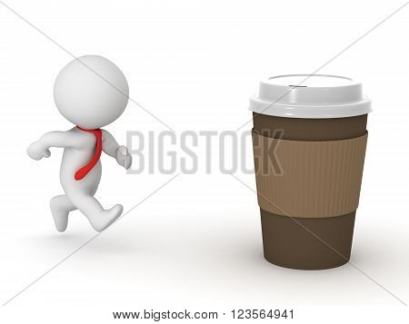 3D character wearing red tie running toward a large coffee cup. Isolated on white background.