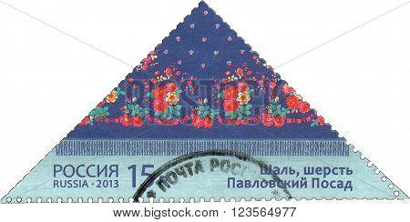 RUSSIA - CIRCA 2013: A stamp printed in Russia shows the Pavlovsky Posad shawl, circa 2013.