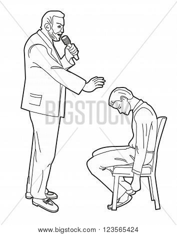 Hypnotist hypnotizes man Black vector illustration isolated on white background