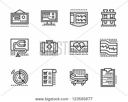 Medical diagnosis and treatment theme. Cardiology clinic elements. Cardiac care. Collection of black line style vector icons. Elements for web design and mobile.