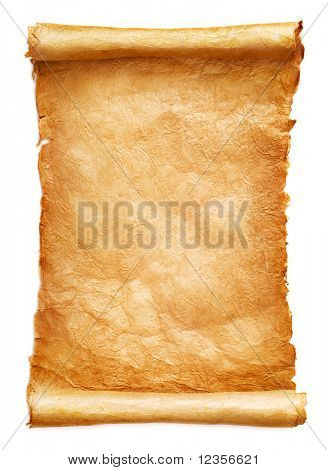 Antique paper scroll on white background