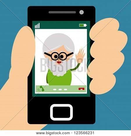 Illustration of grandfather making a video call on smartphone.