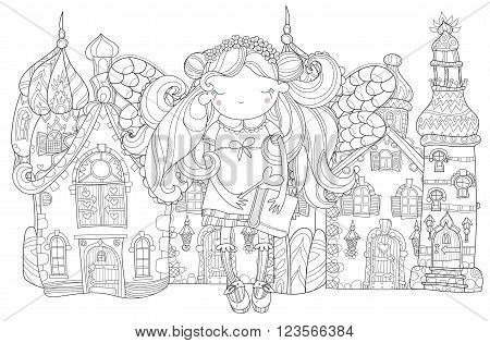 Vector cute princess fairy girl with wings in flower crown.Old fairy town city view.Vector line illustration.Sketch for postcard or print or coloring adult book.Hand drawn free boho style.