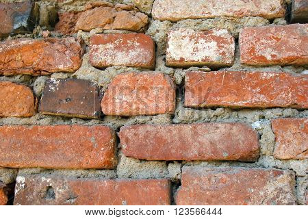 Old brick masonry wall. Texture of wall from a red brick. The background of bricks. Brickwork of an ancient building.